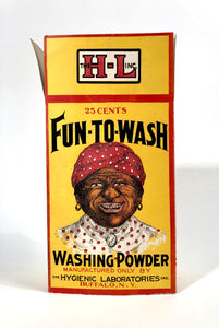 Unused 1910's FUN-TO-WASH Washing Powder Box || Black Americana, Racist Advertising