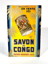 Load image into Gallery viewer, Antique French SAVON DU CONGO Store Soap Display, Advertising Sign