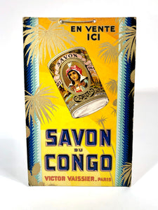 Antique French SAVON DU CONGO Store Soap Display, Advertising Sign