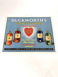 1930's DUCKWORTH'S ESSENCES & COLOURS Store Display Advertising Sign