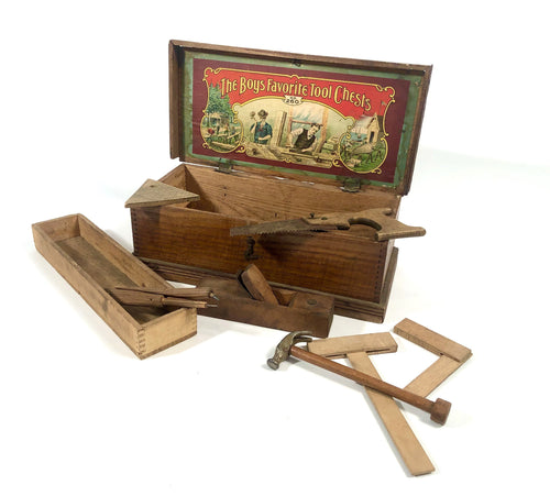 Early 1900's THE BOY'S FAVORITE TOOL CHEST Toy Toolbox No. 260