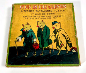 Antique PIGS IN THE CLOVER Children's Puzzle, Maze Game || Milton Bradley