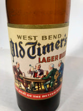 Load image into Gallery viewer, Vintage West Bend Old Timer's Lager Beer Empty 12 oz Bottle bottled in West Bend, WIS by West Bend Lithia Co.