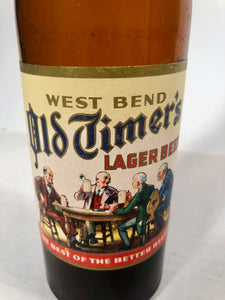 Vintage West Bend Old Timer's Lager Beer Empty 12 oz Bottle bottled in West Bend, WIS by West Bend Lithia Co.
