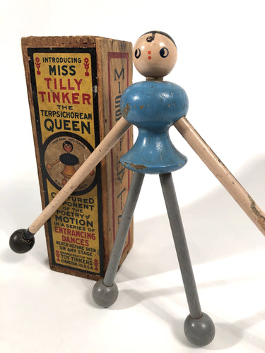 1917 Antique Edwardian MISS TILLY TINKER, Wooden Doll, Children's Tinker Toy, Original Box