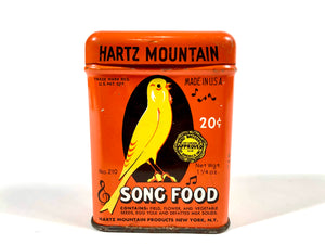 Vintage 1950's HARTZ MOUNTAIN SONG FOOD, Canary Bird Feed Tin, Box