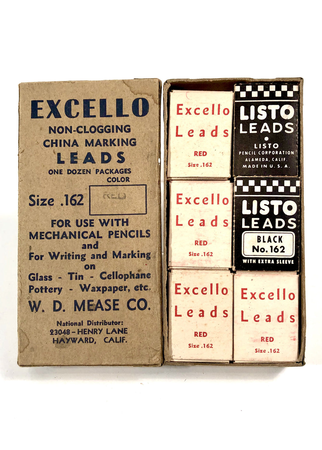 Mid-Century EXCELLO MARKING LEADS For Mechanical Pencils, Twelve Packs