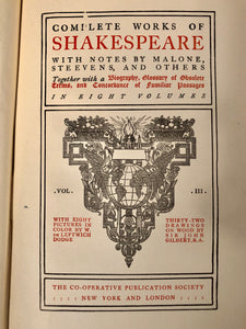 Antique SHAKESPEARE Collected Plays Book || Taming of the Shrew, Winter's Tale, Macbeth, King John, Comedy of Errors