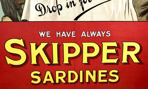 Antique 1910's SKIPPER SARDINES Chromolithograph Advertising Poster, Sign
