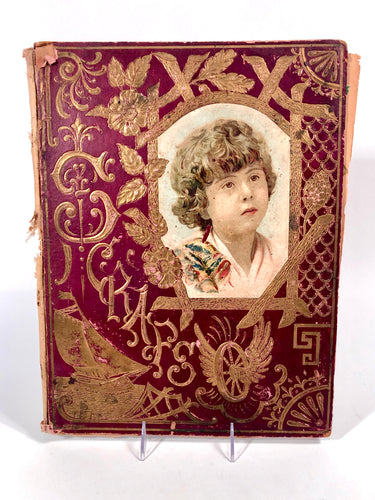 Victorian, Turn of the Century Children's SCRAP BOOK with Ornate Cover