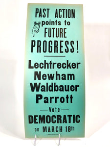 "1960s-1970s Vote Democratic Political Campaign Sign || ""Future Progress"""