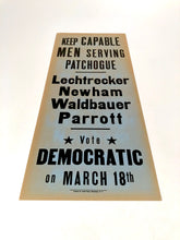Load image into Gallery viewer, 1960s-1970s Vote Democratic Political Campaign Sign || Capable Men Serving