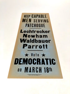 1960s-1970s Vote Democratic Political Campaign Sign || Capable Men Serving
