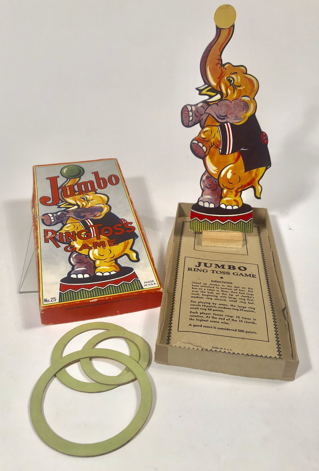 JUMBO the Elephant Vintage RING TOSS GAME, Rosebud Art Co. || Vintage Circus
