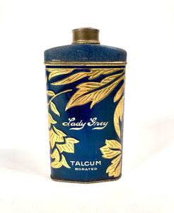 1920's LADY GREY Talcum Powder Cosmetic Tin || Partially Full