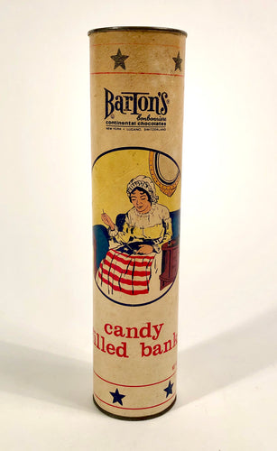 1950's BARTON'S Continental Chocolates Candy Filled Bank || Sara Barton, American