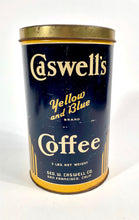 Load image into Gallery viewer, Antique 1920's Caswell's Yellow and Blue Brand Coffee Tin || San Francisco, Ca.