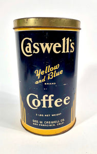 Antique 1920's Caswell's Yellow and Blue Brand Coffee Tin || San Francisco, Ca.