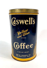 Load image into Gallery viewer, Antique 1920's Caswell's Yellow and Blue Brand Coffee Tin Can || San Francisco, Ca.
