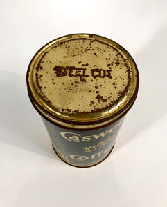 Antique 1920's Caswell's Yellow and Blue Brand Coffee Tin Can || San Francisco, Ca.