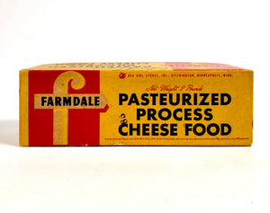 Midcentury Vintage Farmdale Pasteurized Process Cheese Food Box, Package
