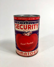 Load image into Gallery viewer, Art Deco Era Bridwell Security Brand Tomatoes Tin Can, Package