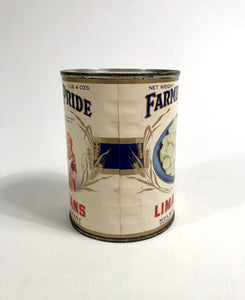 1930's Farmers Pride Brand Lima Beans Tin Can, Package