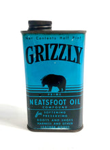 Load image into Gallery viewer, 1930's-1940's Grizzly Neatsfoot Leather Oil Tin Can, Package || Bear Logo