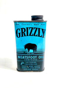 1930's-1940's Grizzly Neatsfoot Leather Oil Tin Can, Package || Bear Logo