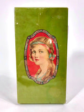 Load image into Gallery viewer, 1920's Red Headed Woman Green Clothing Accessory Box, Package