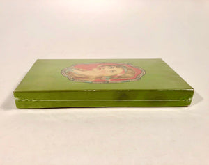 1920's Red Headed Woman Green Clothing Accessory Box, Package