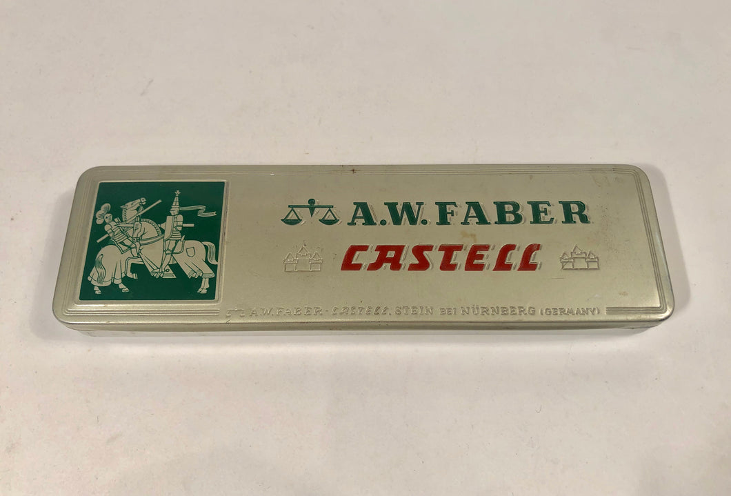 Vintage A.W. Faber CASTELL PENCIL TIN, Germany || Knights, Horses, Jousting