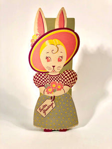 Vintage Easter Greeting Bunny, Rabbit Chocolate Box || Easter Candy Package
