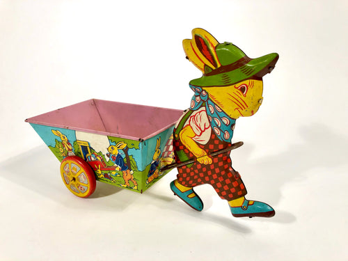 Vintage Easter Rabbit Tin Toy Cart || Painted Easter Egg Hunt, Bunnies, Ducks
