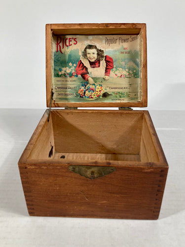 RICE'S Popular Flower Seeds, Cambridge, Old Vintage SEED BOX