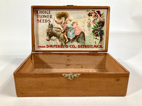 Choice FLOWER SEEDS, Old Vintage SEED BOX, Horse