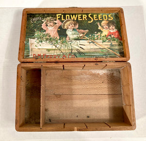 Kids in Canoe, Choice FLOWER SEEDS Box, Old Vintage, D.M Ferry