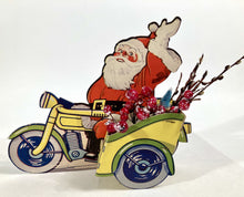 Load image into Gallery viewer, CHRISTMAS Die-cut Stand-up SANTA and Sleigh Advertising Display, Holder, Santa on a Motorcycle