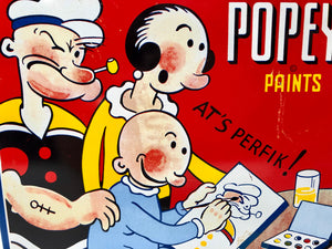 1933 POPEYE PAINTS Tin Paint Set, Original Unused Paint, Brush and Water Plate