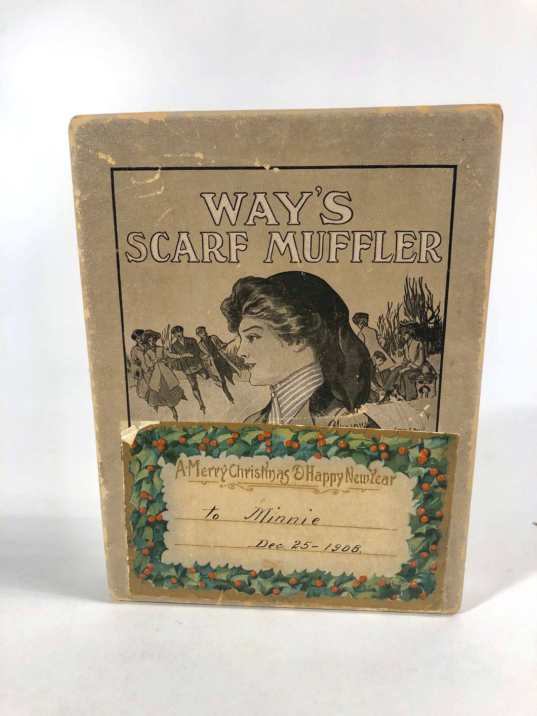 1908 WAY'S SCARF MUFFLER Box., Christmas Gift with Tag,