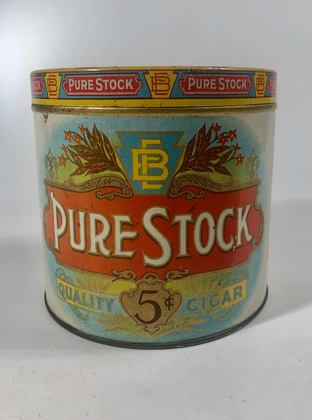PURE STOCK Quality CIGAR Tobacco Tin || Lancaster, PA.