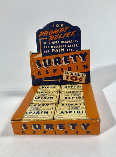 SURETY ASPIRIN Full Stand-up Store Display with Original Twelve Tins of Aspirin || 1930's Pharmacy