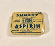 Load image into Gallery viewer, SURETY ASPIRIN Full Stand-up Store Display with Original Twelve Tins of Aspirin || 1940's Pharmacy
