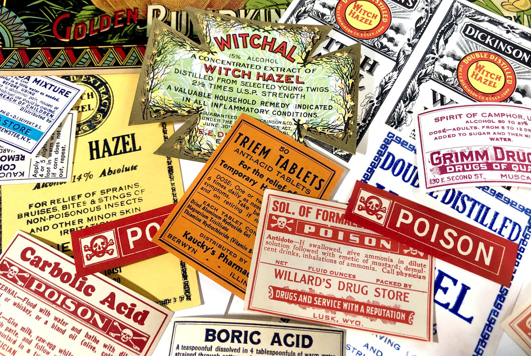 Set of Ten ANTIQUE HALLOWEEN Themed Unused Pharmacy and Poison LABELS