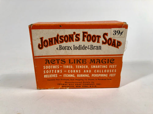 1940's JOHNSON'S FOOT SOAP Borax Iodine & Bran Package with Original Product,
