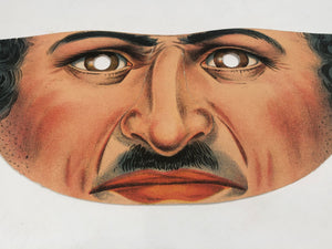 Vintage Paper MAN MASK, With Eyeholes and Ear Flaps, Mustache, Stubble
