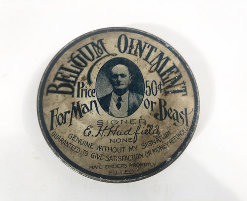 BELGIUM OINTMENT For Man or Beast Antique Tin with Original Contents || E.H. Hadfield