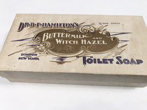 Dr. B.F. Hamilton's BUTTERMILK AND WITCH HAZEL TOILET SOAP Original Box with Three Original Soap Cakes
