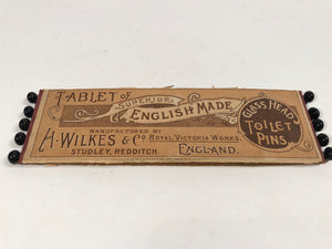 Tablet of Superior English Made GLASS HEAD TOILET PINS || H. Wilkes & Co. England