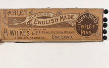 Load image into Gallery viewer, Tablet of Superior English Made GLASS HEAD TOILET PINS || H. Wilkes & Co. England